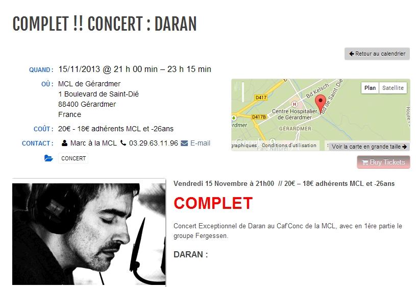 GÉRARDMER (88) - MCL - 1re partie de DARAN