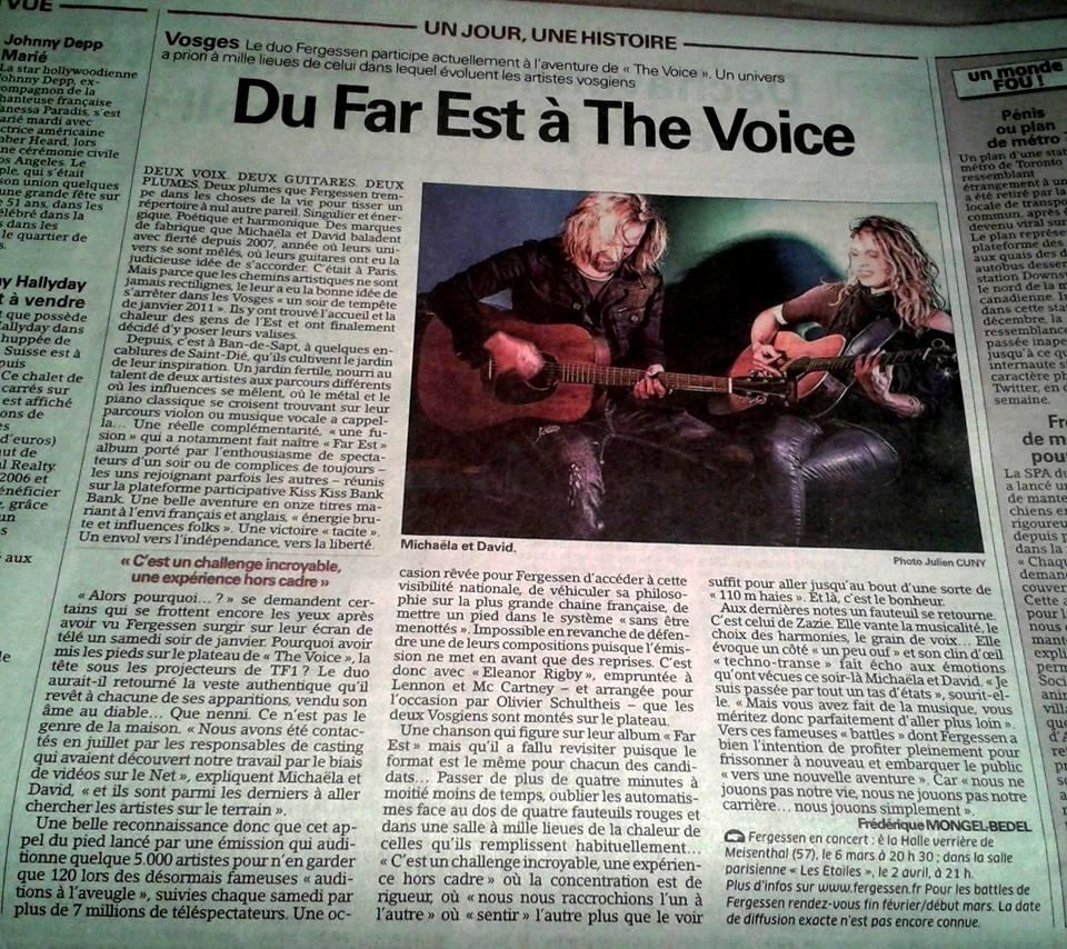 Photo 4e de Couv - Vosges Matin et l'Est Républicain février 2015